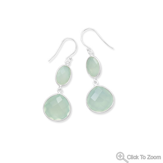 Design 21849: green chalcedony drop earrings