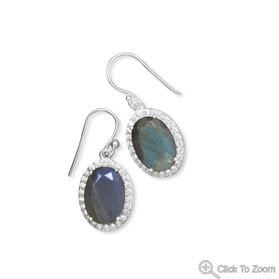 Design 21852: gray labradorite drop earrings