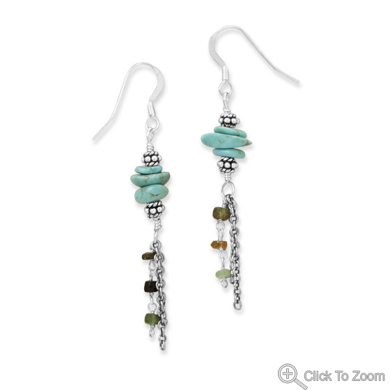 Design 21859: multi-color multi-stone earrings