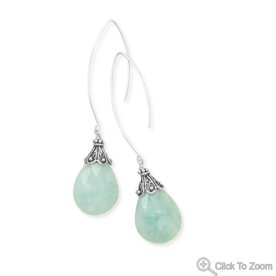 Design 21862: green amazonite drop earrings