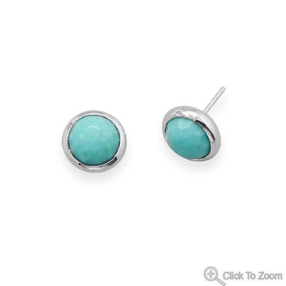 Design 21865: blue turquoise post earrings