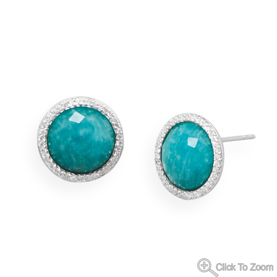Design 21866: blue amazonite post earrings