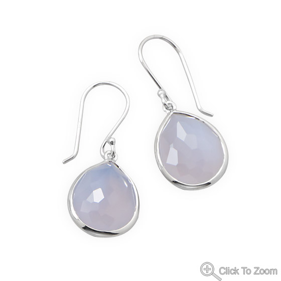 Design 21867: blue chalcedony drop earrings