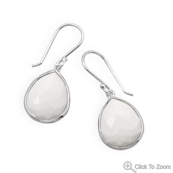 Design 21868: white agate drop earrings