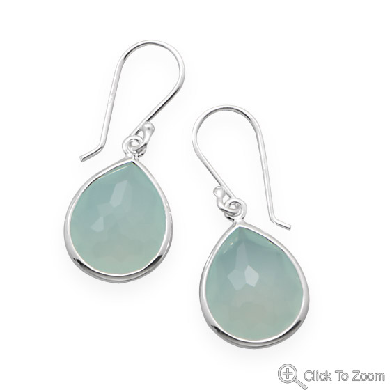 Design 21869: green chalcedony drop earrings
