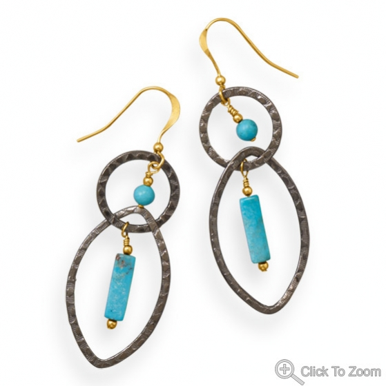 Design 21872: blue turquoise american-southwest earrings