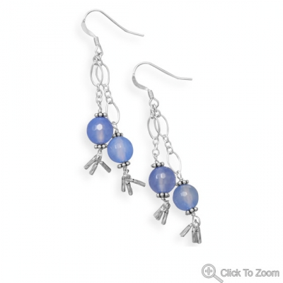 Design 21873: blue agate drop earrings