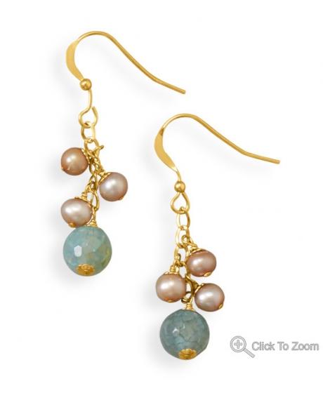Design 21875: multi-color multi-stone drop earrings