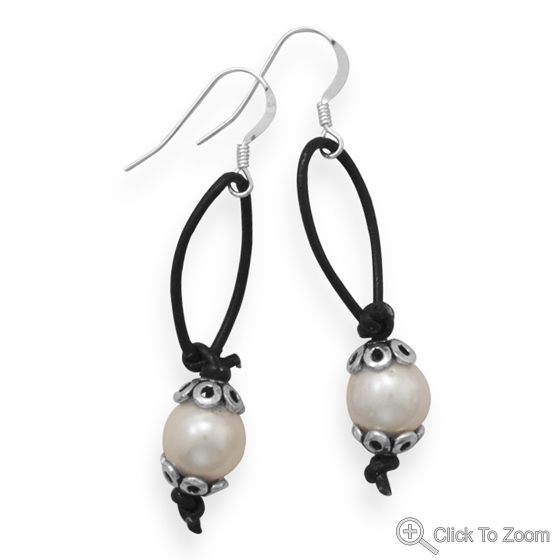 Design 21877: white pearl drop earrings