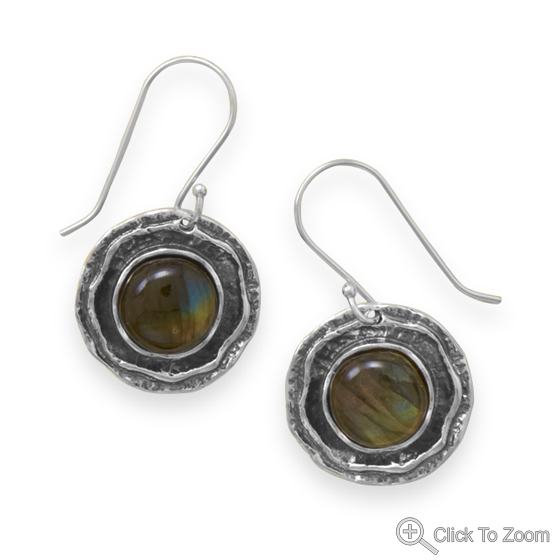 Design 21878: brown labradorite drop earrings