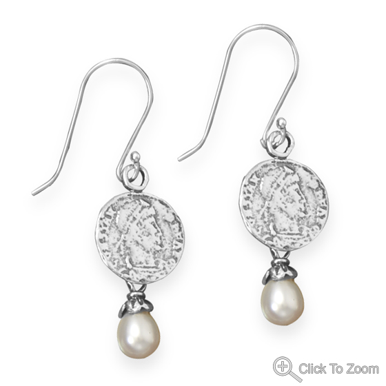Design 21879: white pearl drop earrings