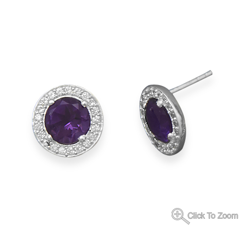 Design 21881: purple amethyst post earrings