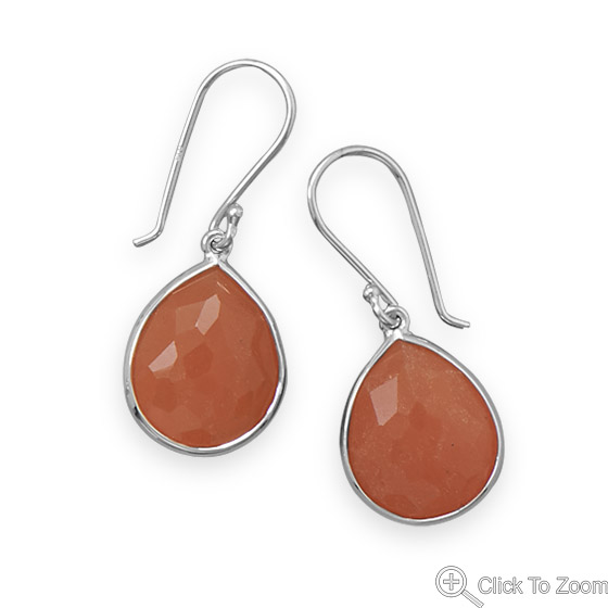 Design 21883: orange aventurine drop earrings