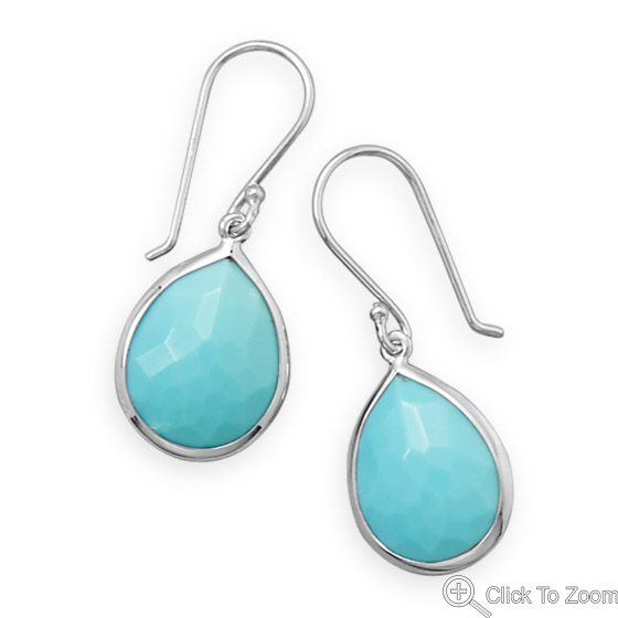 Design 21884: blue turquoise drop earrings