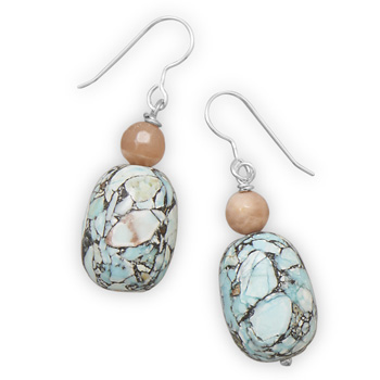 Design 21885: multi-color multi-stone drop earrings