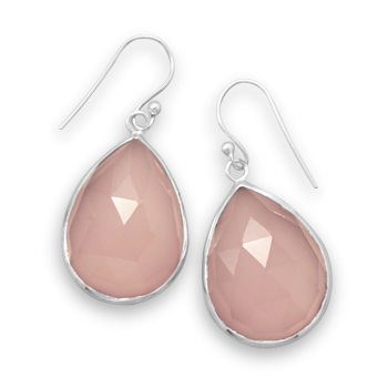 Design 21890: pink chalcedony drop earrings