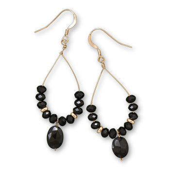 Design 21892: black black spinel drop earrings