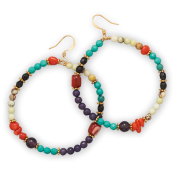 Design 21894: multi-color multi-stone hoop earrings