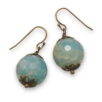 Design 21898: blue agate drop earrings