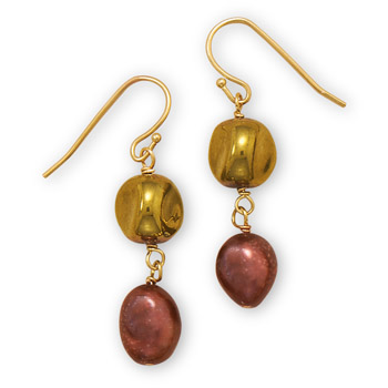Design 21899: brown pearl drop earrings