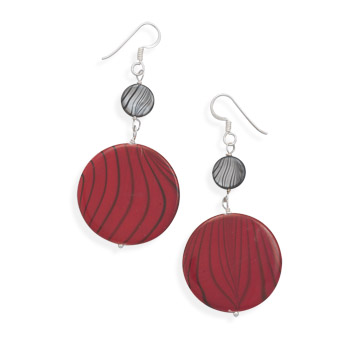 Design 21902: multi-color shell drop earrings