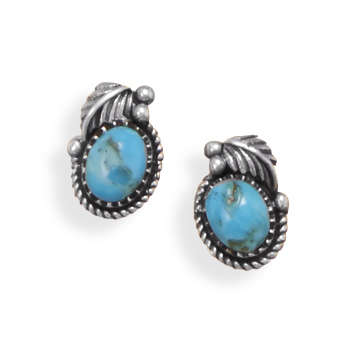 Design 21904: blue turquoise studs earrings