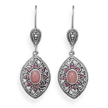 Design 21905: pink opal drop earrings