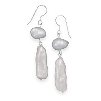 Design 21907: white pearl drop earrings