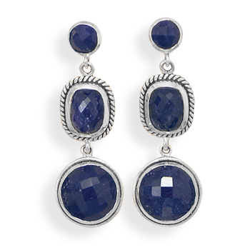 Design 21908: blue sapphire drop earrings