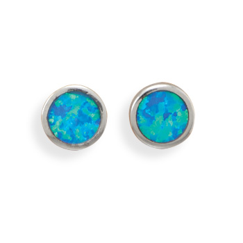 Design 21914: blue opal studs earrings