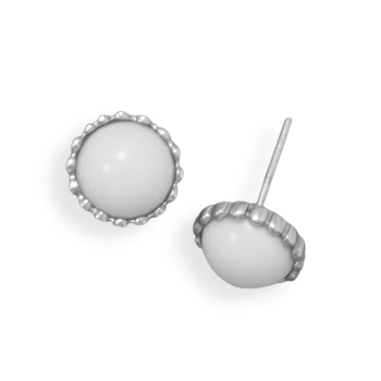 Design 21918: white agate post earrings