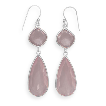 Design 21924: pink rose quartz drop earrings