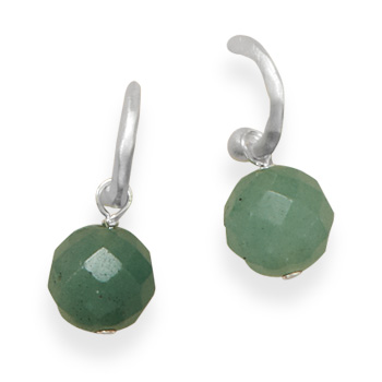 Design 21926: green aventurine hoop earrings
