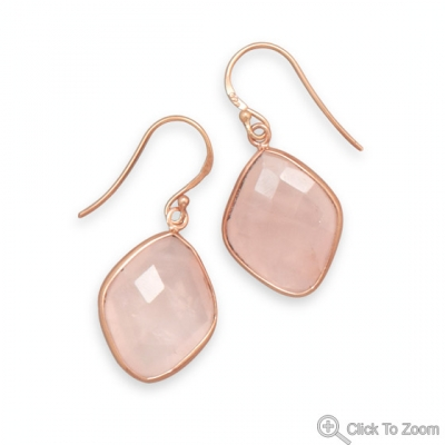 Design 21928: pink rose quartz drop earrings