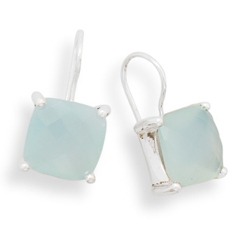 Design 21929: green chalcedony drop earrings