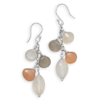 Design 21930: multi-color moonstone multistone earrings
