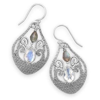 Design 21931: multi-color multi-stone drop earrings