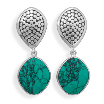 Design 21934: green turquoise drop earrings
