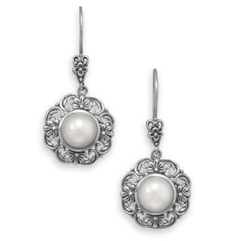 Design 21943: white pearl drop earrings