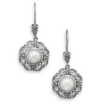 Design 21943: white pearl drop earrings