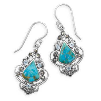 Design 21944: blue turquoise drop earrings
