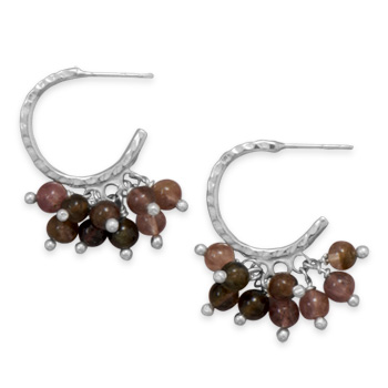 Design 21945: brown tourmaline hoop earrings
