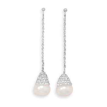Design 21950: white pearl drop earrings