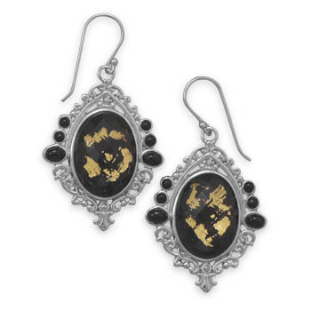 Design 21954: black quartz drop earrings