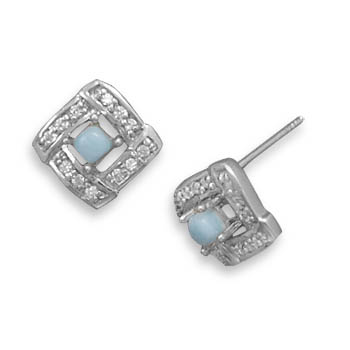 Design 21958: blue larimar studs earrings
