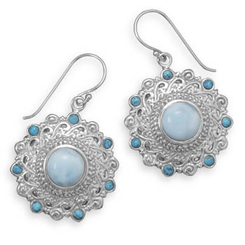 Design 21959: blue larimar drop earrings