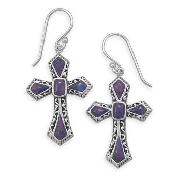 Design 21961: purple turquoise drop earrings