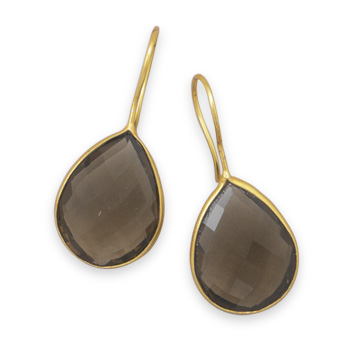 Design 21965: brown smoky quartz drop earrings