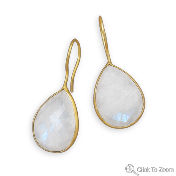 Design 21968: white moonstone drop earrings
