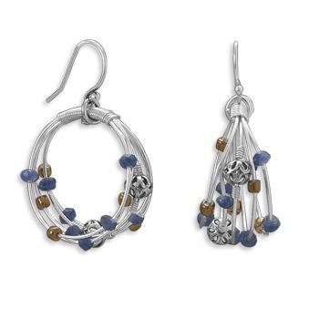 Design 21973: multi-color multi-stone hoop earrings